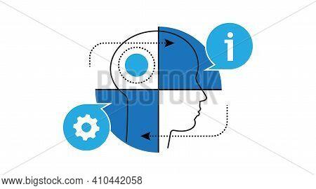 Theory-practice. Balance. Interaction Process. Bulb, Head, Portrait, Man. Vector Icon.