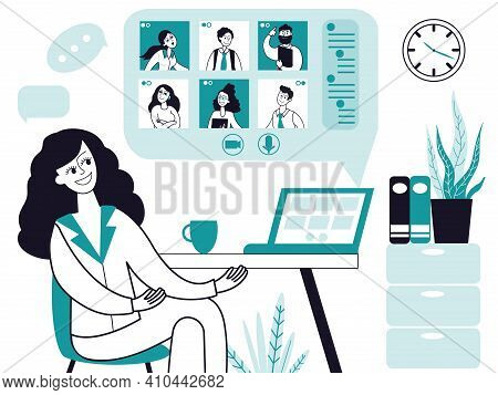 Online Conference. Home Office, Video Work Call Or Webinar. Internet Business, Remote Chat Communica