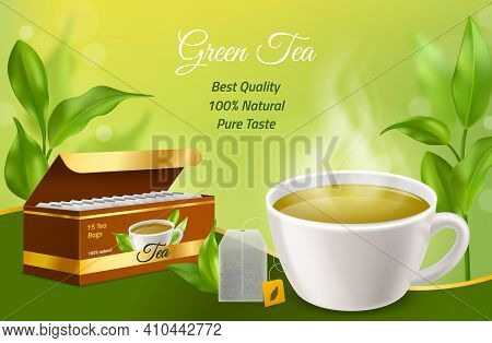 Realistic Tea. 3d White Porcelain Cup With Morning Herbal Hot Drink, Cardboard Box With Tea Bags, Gr