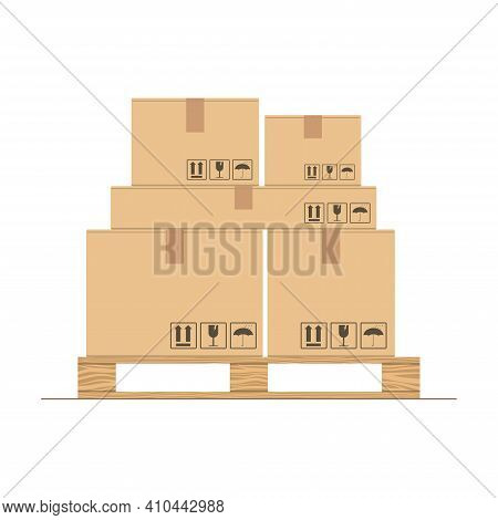 Cardboard Boxes With Fragile Signs On Wooden Pallet. Delivery Packaging Box. Warehouse Goods And Car