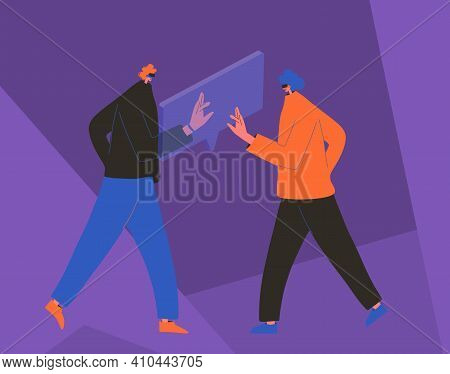 Two Persons Wearing Virtual Reality Glasses Communication. Characters With Vr Headset. Vector Flat C