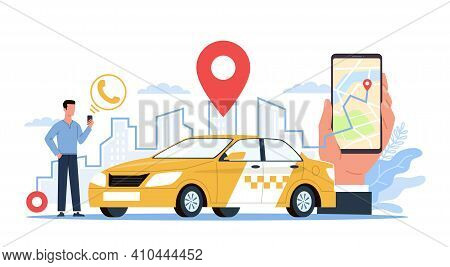 Taxi Service. Man With Smartphone On City Landscape, Screen App Using, Hand Holds Phone, City Map Wi