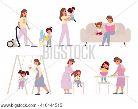Mother And Daughter. Happy Moms With Daughters, Female Family Activities Housekeeping And Cooking, E