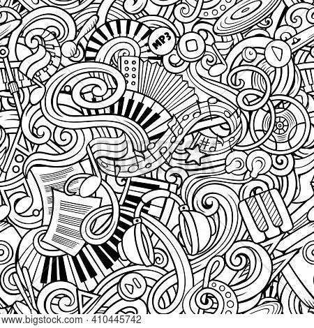 Music Hand Drawn Doodles Seamless Pattern. Musical Instruments Background. Cartoon Fabric Print Desi