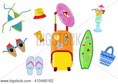 Summer Set, Accessories. Modern Vector Flat Image Design Isolated On White Background. Tropical Summ