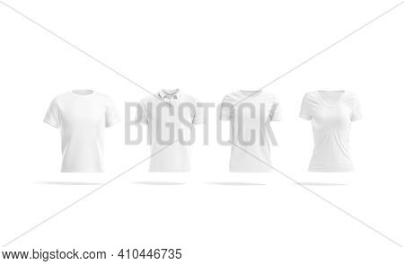 Blank White Men And Women Classic T-shirt And Polo Mockup, 3d Rendering. Empty Fabric Jersey Tee-shi