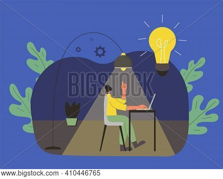 Creative Idea. Smart Female Character Working On Computer At Night. Woman Using Laptop. Young Lady S