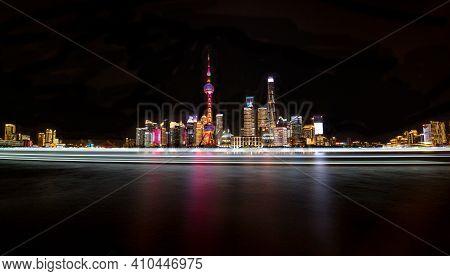 The Bund. Shanghai Skyline At Night - China