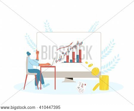 Financial Advisor. Minor Shareholder Use A Digital Servises To Invest. Woman Have A Investment Idea.