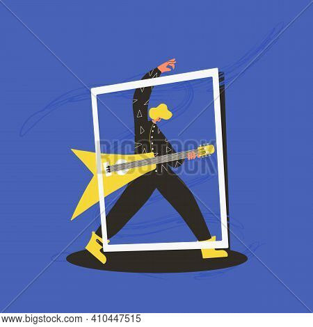 Guitarist Performing On A Stage. Rock Musician Playing Guitar Scene. Vector Flat Character Illustrat