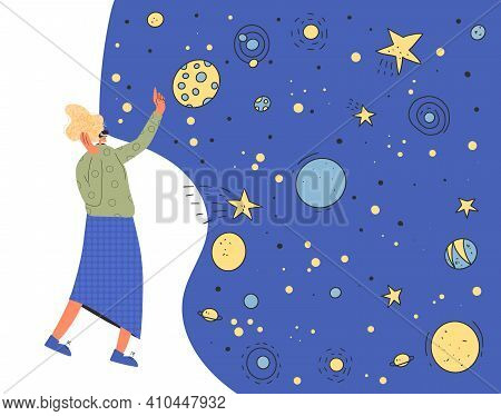 Woman Wearing Virtual Reality Glasses Lookink At Stars. Character With Vr Headset Watching Space. Ve