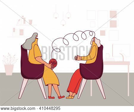 Psychologist Having Session With Her Patient. Female Character Talking Woman With Some Mental Issues