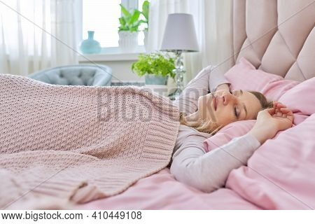 Daytime Sleep, Mature Woman Sleeping During Day, Female With Her Eyes Closed In Bedroom On Bed, Cove