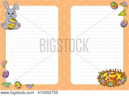 Easter Theme. Colored Sheet Template For Notes. Paper Page For Art Journal, Notebook, Diary, Letters