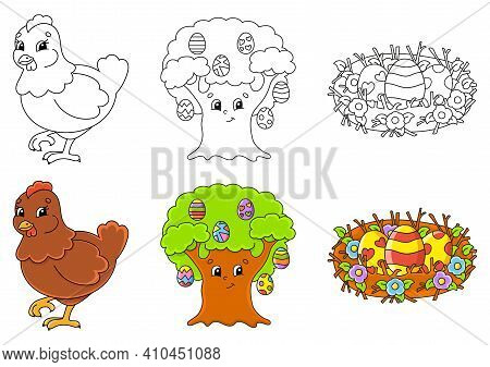 Easter Theme. Set Coloring Page For Kids. Cute Cartoon Characters. Black Stroke. With Sample. Vector
