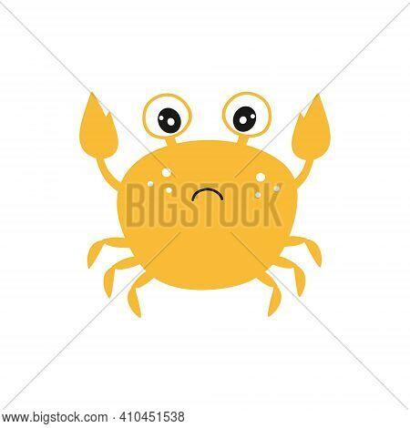 Sad Yellow Crab On A White Background. Childrens Vector Cartoon Illustration, Cartoon Character. Dra