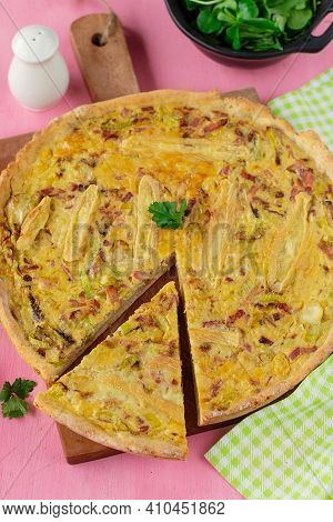 Healthy Wholemeal Savoury Tart Quiche With Leek, Bacon, Eggs And Cheese