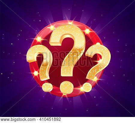 Winning Gifts In Lottery. Grand Drawing. Mystery Gift Question Marks On Retro Illuminated Board Vect
