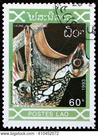 Laos - Circa 1993: A Stamp Printed In Laos Shows Sunda Flying Lemur, Galeopterus Variegatus, Native