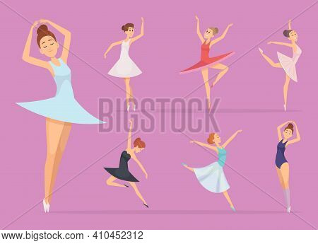 Ballet. Dancers Girl Ballerina Woman Happy Beautiful Girl In Action Poses Vector Illustrations. Ball