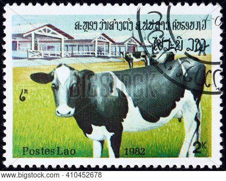 Laos - Circa 1982: A Stamp Printed In Laos Shows Cows And Farm, Circa 1982