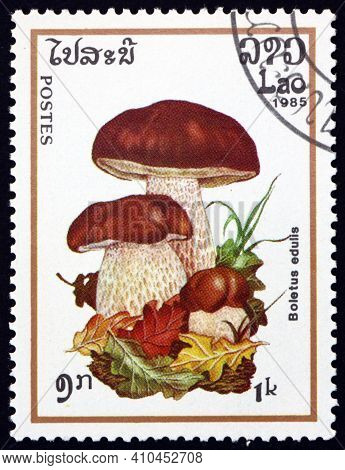 Laos - Circa 1985: A Stamp Printed In Laos Shows Cep, Boletus Edulis, Edible Mushroom, Circa 1985