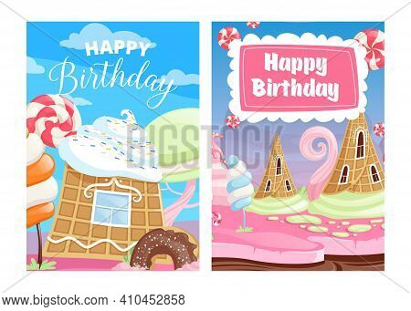 Happy Birthday Cards. Sweet Candy, Cake Lollipops Ice Cream Cartoon Vector Background. Card With Can