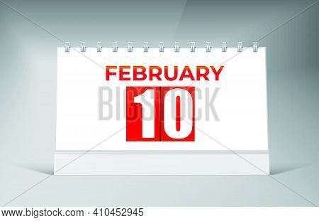 February 10 Desk Calendar Design Template. Single Date Calendar Design.