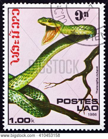 Laos - Circa 1986: A Stamp Printed In Laos Shows Black-skinned Parrot Snake, Thalerophis Richarddi,