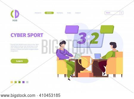 Cybersport Landing. Online Games Digital Tournament Computer And Console For Video Games Garish Vect