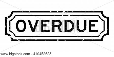 Grunge Black Overdue Word Square Rubber Seal Stamp On White Background