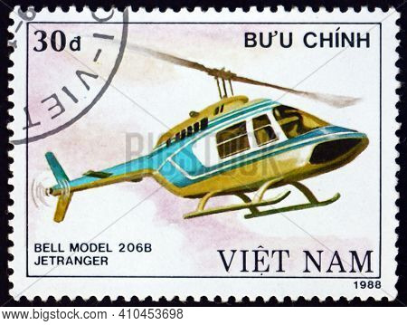 Vietnam - Circa 1988: A Stamp Printed In Vietnam Shows Bell 206b Jet Ranger, Is A Helicopter Manufac