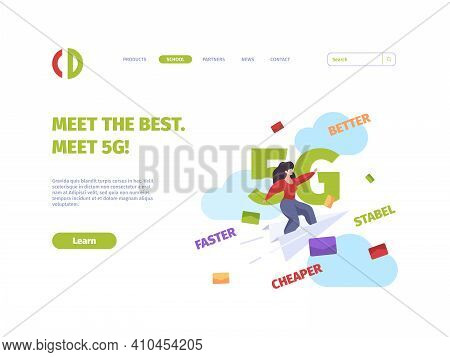 5g Landing Page. Future Mobile Technologies Gsm Internet High Speed Cellular Systems Garish Vector B