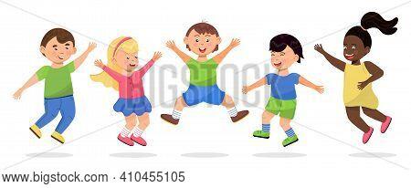 Happy School Kids Jumping. Cartoon Children Has Fun, Runs, Jumps, Plays. Boys And Girls Illustration