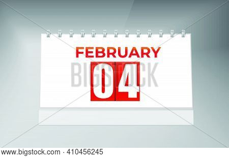 February 04 Desk Calendar Design Template. Single Date Calendar Design.