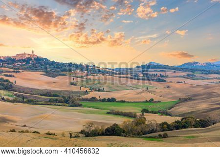 Panoramic Tuscany landscape - beautiful hills and sky with clouds, amazing weather and nature, Tuscany, Italy, Europe