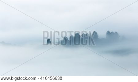Minimalistic Silhouette of foggy valley - Artistic foggy panoramic landscape, trees and hills in fog, light and dark. Tuscany, Italy