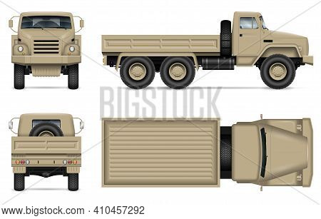 Military Truck Isolated Vector Mockup On White Background. Army Vehicle With View From Side, Front,