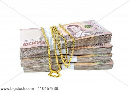 Banknote Money And Gold Necklace Jewelry, Money For Savings Concept, Gold Necklace On Money Thai Bah