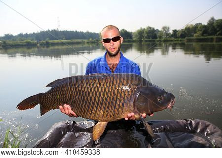The Angler Caught A Very Large Carp