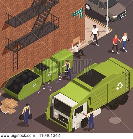 Garbage Removal Isometric Background With Male Persons In Uniform Loading Waste Into Truck From Cont