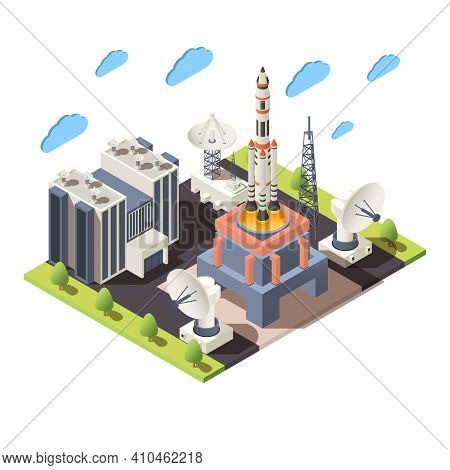 Space Research 3d Composition With Command Center Launching Rocket Radars Isometric Vector Illustrat