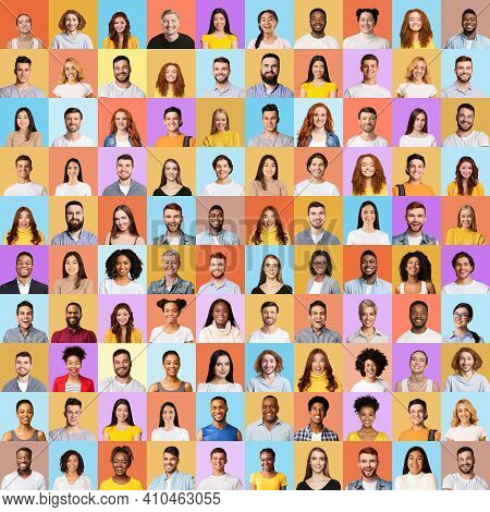Multiple Portraits Of Young Happy And Successful Millennial People In Square Collage Over Different