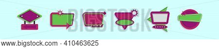 Set Of Yard Sale Sign Cartoon Icon Design Template With Various Models. Modern Vector Illustration I