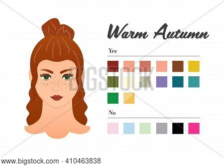 12 Seasons Color Types For Woman - Warm Autumn Type. Perfect Color For Your Wardrobe. Do And Do Not