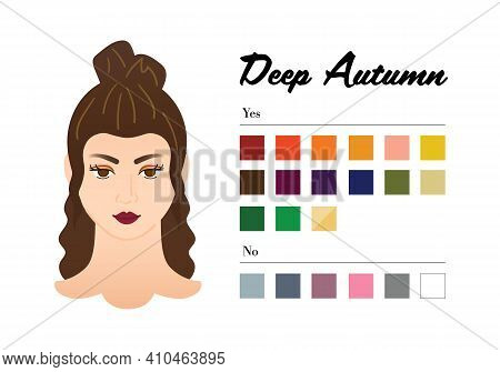 12 Seasons Color Types For Woman - Deep Autumn Type. Perfect Color For Your Wardrobe. Do And Do Not