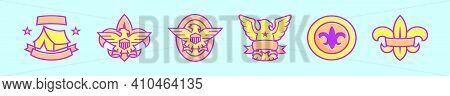 Set Of Eagle Scout Badge Cartoon Icon Design Template With Various Models. Modern Vector Illustratio