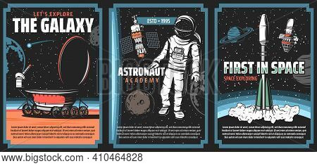 Outer Space Explore, Vector Retro Posters. Galaxy Exploration, Cosmos Adventure Vintage Cards With A