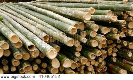 Round Cross Sliced Bamboo Trunk Bundles In Stack Prepared For Use As A Building Construction Materia