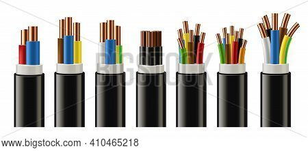 Electric Cable With Copper Conductor, Braided Wires In Color Plastic Insulation 3d Realistic Vector.